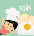 kids menu chef boy fried egg bread vector image