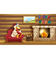 A duck reading a book near the fireplace vector image
