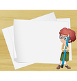 A boy with a long pencil standing beside the empty vector image vector image