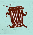 poster take away coffee turquoise vector image