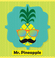 colorful cool mr pinapple fruit emblem icon vector image