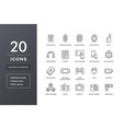 electronic devices line icons vector image