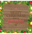Wooden Background With Christmas Text vector image vector image