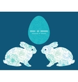blue line art flowers bunny rabbit vector image