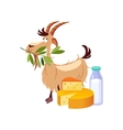 Goat Eating A Branch And Set Of Cheese And Milk vector image