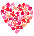 Hand print heart vector image