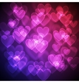 Hearts bokeh background vector image