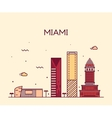 Miami skyline trendy linear vector image