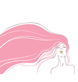 pink hair vector image