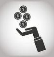 hand with falling coins money dollar banking vector image