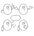 Black and white thinking egg set vector image vector image