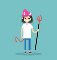 young female character wearing devil elements vector image vector image