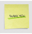 thank you yellow paper vector image vector image