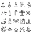 Set of linear icons Christmas and New Year vector image