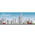 Miami Skyline with Gray Buildings and Blue Sky vector image