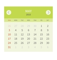 Calendar monthly may 2015 in flat design vector image