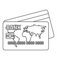 credit card icon outline style vector image