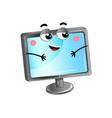 happy lcd monitor cartoon character vector image