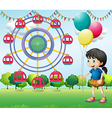A girl holding balloons at the carnival vector image vector image