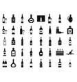 Alcohol bottle icon set simple style vector image