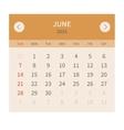 Calendar monthly june 2015 in flat design vector image vector image