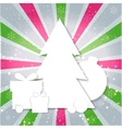 Merry Christmas paper tree design greeting card vector image vector image
