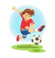 Soccer Boy Shooting The Ball To Make A Goal vector image