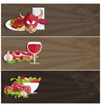 steak house banners with bullmeatwine and salad vector image