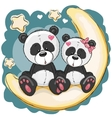 Two Pandas on the moon vector image