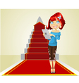 Cute girl with laptop on the career ladder vector image vector image