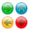Arrows glass button icon set vector image