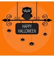 Happy Halloween card Owl bird spider on dash line vector image