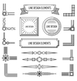 Retro linear outline design elements frames vector image