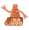 robot with caterpillar track icon cartoon style vector image