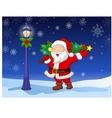 Santa carrying a Christmas tree vector image
