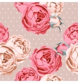 Seamless peony roses and polka dot vector image