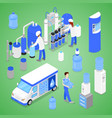 Isometric water purification factory with workers vector image