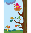 mother bird on tree vector image vector image