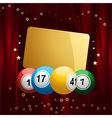 Bingo balls with Christmas gift tag on red velvet vector image