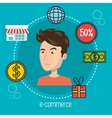 cartoon man icons e-commerce isolated design vector image