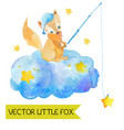 cartoon night scene with cute fox vector image