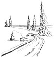 hand drawing winter forest with road isolated vector image