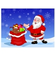 Happy Santa Clause with gift waving hand vector image