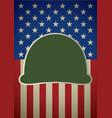 icon of military helmet on usa flag vector image