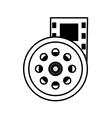 reel film movie wheel icon outline vector image