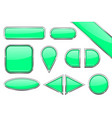 set of green glass buttons with metal frame vector image