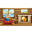An owl reading a book beside a fireplace vector image vector image