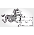 Hippocampus with scroll for your text vector image