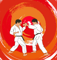 two boys demonstrate karate vector image