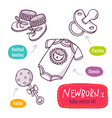 line art icon set with baby products for newborns vector image